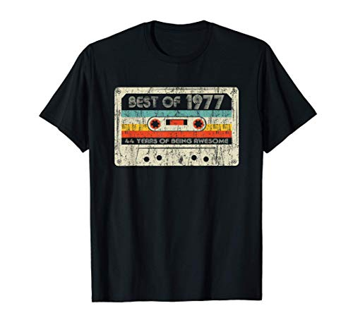 44th Birthday Gifts Best Of 1977 Cassette Tape Retro Vintage T-Shirt