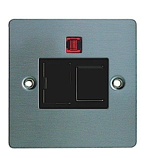 Jegs 8858BMFSJE - 13A Switched Fused Spur & Neon Flatplate/Bla in Stainless Steel by Stainless Steel/bla