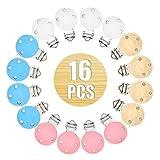 RUBY-16pcs Schnullerketten klips holzclip für schnullerkette (4 Farben, 16 PCS)
