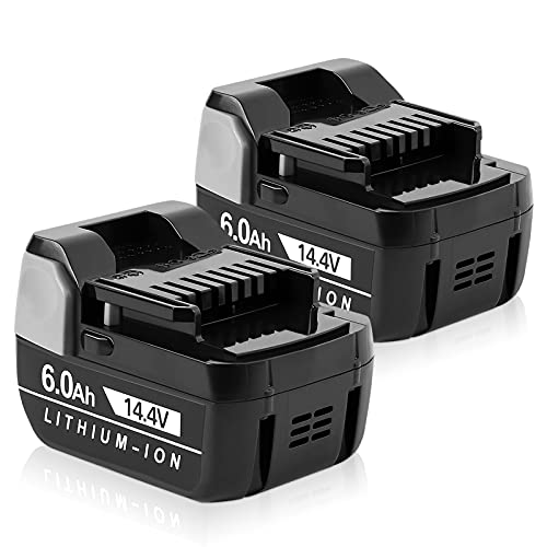 Jialitt 2 Pack 14.4V 6.0Ah Replacement Battery for Hitachi Compatible BSL1460 BSL1415 BSL1440 BSL1450 Lithium-ion Replacement Battery for Cordless Power Tool