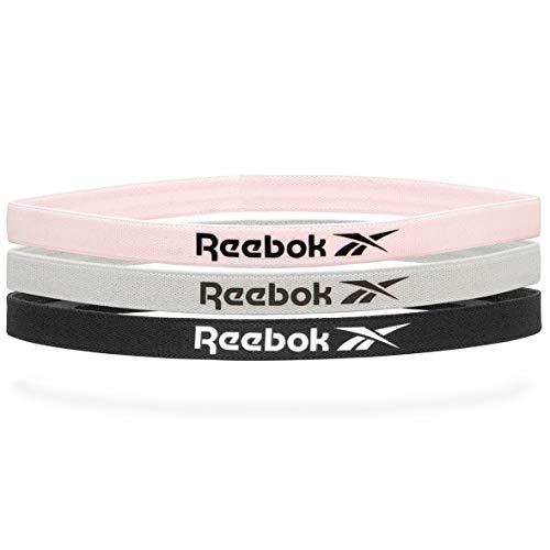 Reebok Negro, Gris, Rosa Bandas de Pelo Deportivas (3 Pack), Unisex-Adult, One Size
