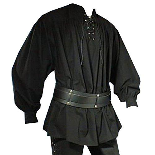 Elbenwald Costumes médiévaux Chemise Homme Noir avec Lacets - S