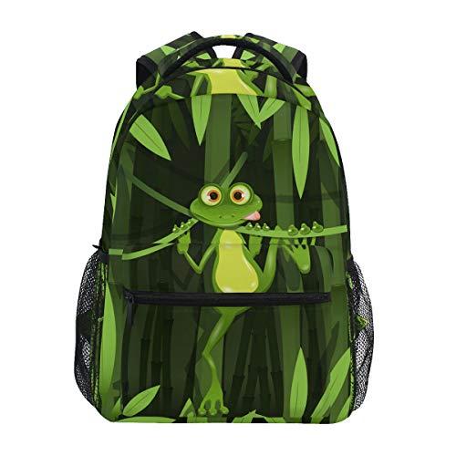 Mochilas escolares para niñas y niños curiosos rana en tallo del bambú, personalizable, para senderismo, camping
