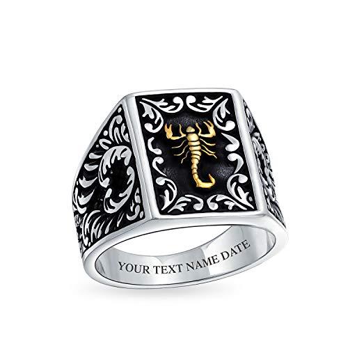 Personalizado hombres dos tonos Zodiac Scorpion Signet anillo para los hombres sólido negro 14K chapado 925 plata personalizado grabado
