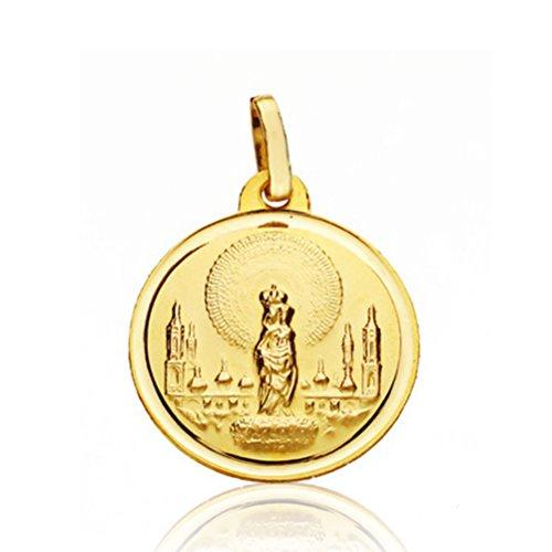 Alda Joyeros Medalla Virgen del Pilar Oro 18k 18mm - Grabado Incluido