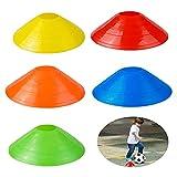 QUUPY Conjuntos de cono de disco de 20 conos de fútbol, juego de entrenamiento de velocidad y agilidad, utilizado para entrenar fútbol, atletas de baloncesto