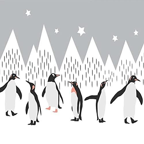Papel pintado tejido no tejido Gris blanco negro estrella iceberg animal vinilos pared fotomurales decorativos pared para Sala de Estar Habitación Cocina Fondo de TV 250x175cm