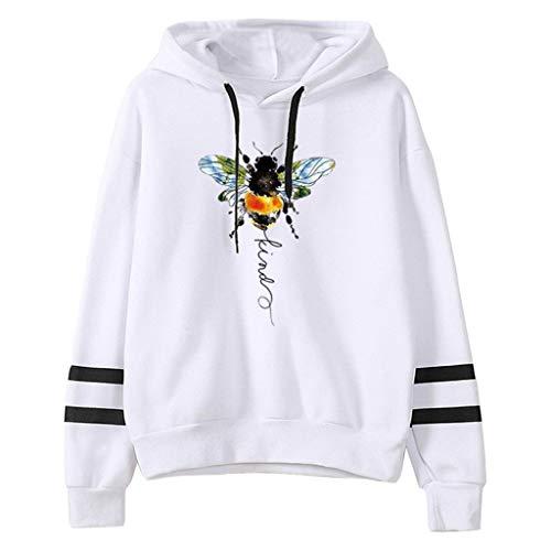 ReooLy Suéter con Capucha de Manga Larga con Bloques de Color y Barras paralelas con Estampado de Abejas Ladies(Blanco,XXL)