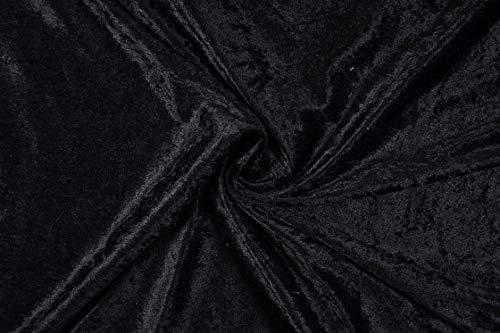 Pannesamt Stoff Meterware für Deko, Basteln und Bekleidung, 0,5 Meter - 147 cm Breit - Samt ähnliche Oberfläche Stoffe (Schwarz)