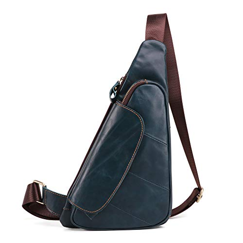 Men Triangle Cow Leather Shoulder Bag Travel Genuine Leather Chest Bag Strap Sling Casual Chest Pack Crossbody Bag (blue)