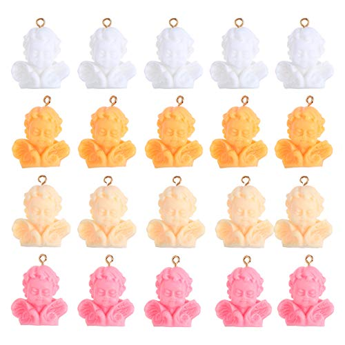 Kisangel 20Pcs Christmas Angel Charm Pendant Resin Angel Miniature Figurines Charms with Findings DIY Jewelry Making Crafts for Earring Necklace Bracelet Key Chain Random Color