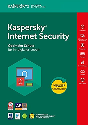 Kaspersky Internet Security 2018 Vollversion | 10 Geräte | 1 Jahr | Windows/Mac/Android | Download | Lizenz Key Card von Kaspersky | Gültig in allen EU Ländern