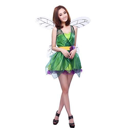 GEMVIE Fiesta Disfraz Vestido Cosplay Elfo para Mujer Carnaval Halloween Verde