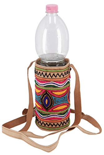 GURU SHOP Flaschentasche, Bestickte WasserflaschenTasche, Getränkehalter aus Kamelleder, Herren/Damen, Mehrfarbig, Size:One Size, Alternative Umhängetasche, Handtasche aus Stoff