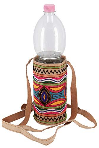 Guru-Shop Flaschentasche, Bestickte WasserflaschenTasche, Getränkehalter aus Kamelleder, Herren/Damen, Mehrfarbig, Size:One Size, Alternative Umhängetasche, Handtasche aus Stoff