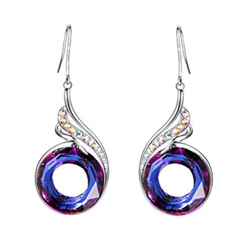Pendientes mujer largos en forma de gota,Aretes mujer largos Ave Fenix arco iris, incluido paño limpia metales y caja para regalo (Azul Mar)
