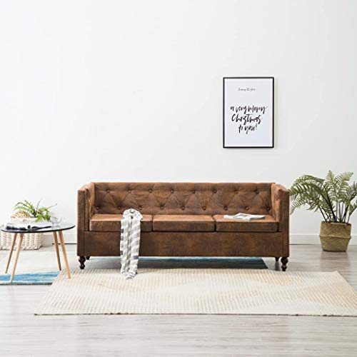 Tidyard Chesterfield Sofa 2 Sitzer Lounge Ledersofa Couch Sofagarnitur, Holzrahmen, Braun, 176 x 68 x 70 cm