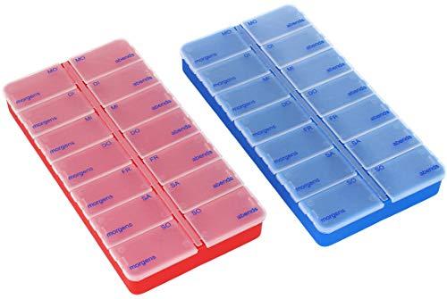com-four® 2X Medikamentendosierer - Medikamenten-Box für 7 Tage - Pillendose - Tablettendose - Tablettenbox - Wochendosierer zur Aufbewahrung (02 Stück - dunkelblau/rot)