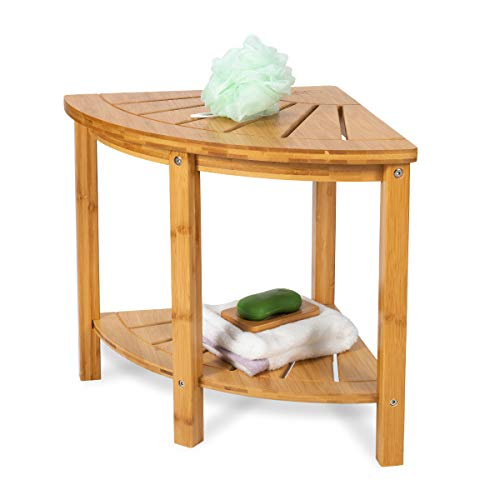 OasisCraft Corner Shower Bench with Free Soap Dish, Small Bamboo Shower Stool with Shelf, Wooden Bathroom Spa Bath Organizer Seat, Perfect for Indoor or Outdoor