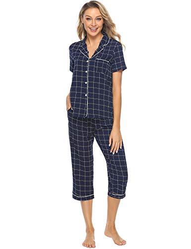 iClosam Pyjama Femme Carreaux noirs et blancs - Chemise et Pantalon - Vêtement de nuit, Bleu, L