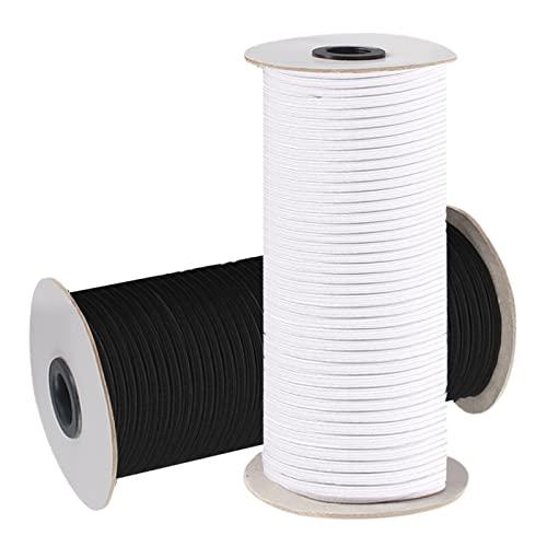 2 Rollos Costura Elástica 3mm 110m, Cordón Elástica, Cinta Elástica Costura, Banda Elástica Trenzada para Costura y Manualidades(Blanco y Negro)