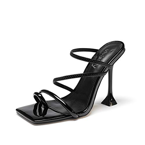vivianly Women Square Toe Mules Sandals Toe Ring Stiletto Heels Dress Heels Slip on Slipper Party Shoes