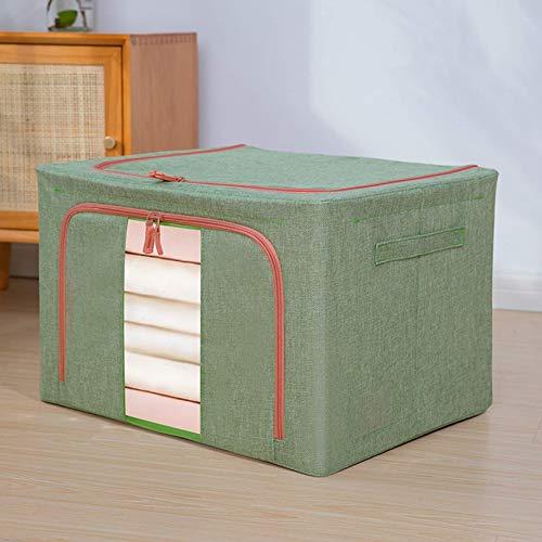 Caja de almacenamiento plegable de ZQCM con tapa de tela de almacenamiento Organizador de caja con mango grandes contenedores de almacenamiento para juguetes, libros, armario, dormitorio, hogar, verde