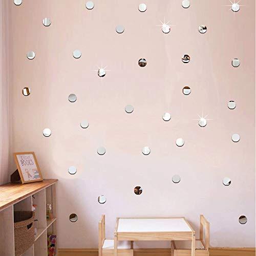 ufengke Acrílico Plateado Lunares Pegatinas de Pared 2cm de Diámetro Autoadhesivos Espejo Redondo Extraíble Adhesivos de Pared para Salón Baño Dormitorio
