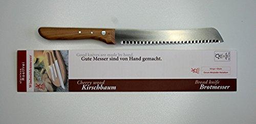 Windmühlenmesser, Brotmesser, Kirschholzgriff, Wellenschliff, rostfrei
