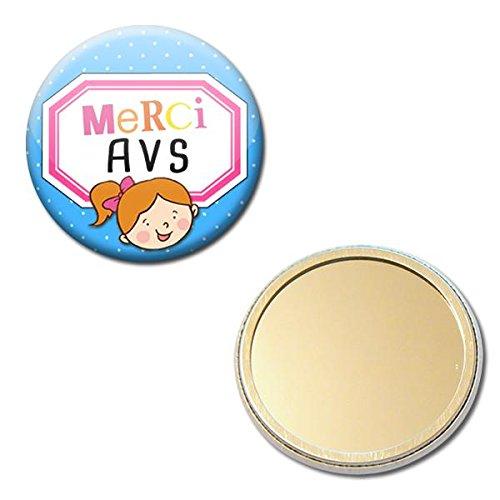 Merci Avs Miroir de Poche 5,6 centimètres Idée Cadeau Accessoire École Fin Année Scolaire Noël Anniversaire