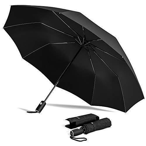 Regenschirm Taschenschirm Sturmfest + Auf-Zu Automatik & Schirm-Tasche, Schwarz | Herren Damen Kinder Reiseschirm - Kompakt Stabil, Teflon Wind- & Regen- Dicht | Taschenregenschirm Golfschirm Umbrella