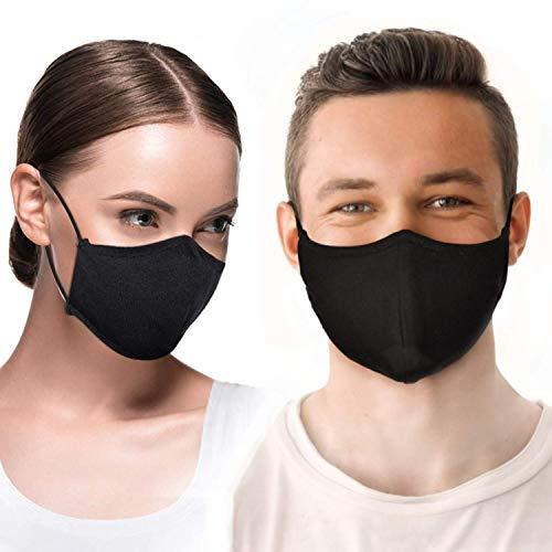Satz von 4 Mundschutz Masken aus 100% Baumwolle, gestrickt aus Nano-Fasern, mit verstellbarem Gummiband - 50-mal wiederverwendbar und waschbar - DOMUX®