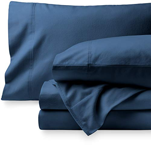 Bare Home Flannel Sheet Set 100% Cotton, Velvety Soft Heavyweight - Double Brushed Flannel - Deep Pocket (Split King, Dark Blue)