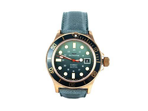 Glycine Combat Herren Uhr analog Automatik mit Leder Armband GL0281