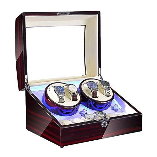 XIUWOUG Expositor automático de relojes para 4 relojes + 6 memorias Piano Paint fuente de alimentación exterior y batería, motor supersilencioso (color: blanco)