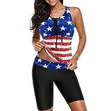 Briskorry Bikini de cintura alta para mujer, tankini de dos piezas, parte superior con pantalones cortos para el abdomen, diseño de leopardo, traje de baño a rayas