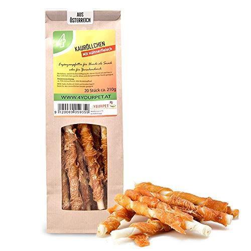 4yourpet Fettarme Kausticks, Kaustange aus Rinderhaut mit Hühnerfleisch umwickelt, Kaurolle mit nur 1,5% Fett für kleine und mittlere Hunderassen (20 Stück (210g))