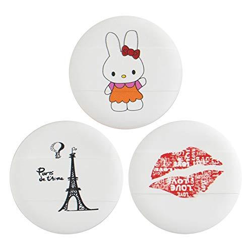 Drametree 3 séries de Cartoon éponge Coussin d'air Puff (Fondation générale BB Crème Maquillage spécial Puff Outil d'application) Maquillage Uniforme sans Manger Poudre