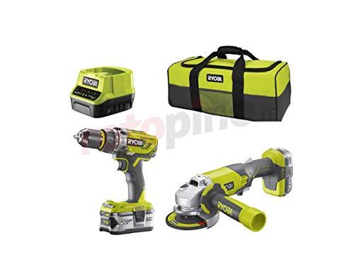 Ryobi 5133003842 Kit Taladro + Amoladora, Inalámbrico, Incluye 2 Baterías Lithium+ One+, 2.0Ah + 4.0Ah Más Bolsa de Transporte