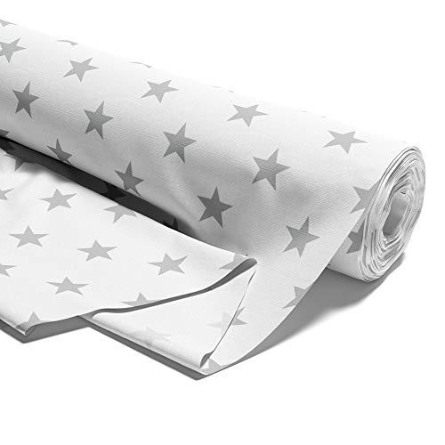 Amazinggirl Tela algodón con Estrellas, por Metros, Tejido de algodón 100%, Tejido para Coser, Tejido algodón único, Certificado Öko-Tex Standard 100 (Estrellas Grises sobre Blanco, 100 cm)