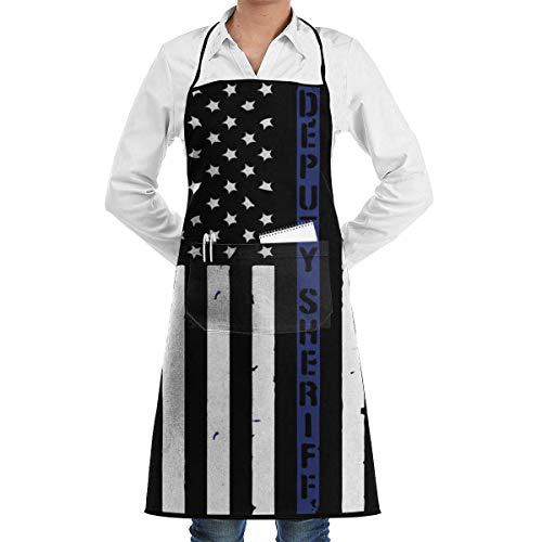 Drempad Unisex Overlock Schürze Stellvertretender Sheriff US-Flagge Verstellbare Polyester-Arbeitsschürze für Frauen