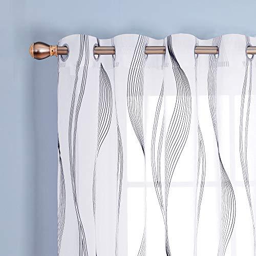 Deconovo Tende Trasparenti Finestre Soggiorno in Voile per Interni Curva Onda Nero con Occhielli 140x280cm Bianco 2 Pannelli