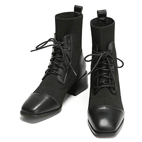 C.PARAVANO Stiefeletten Damen I Boots Damen I Stiefeletten Damen Schwarz I Ankle Boots I Martin Boots Dames I Chelsea Boots I Combat Boots(Martin-Fur,37)