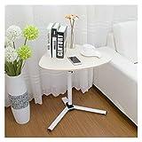 ABD Mesa de sobrecama con ruedas para ordenador portátil, mesa elevable, ajustable, portátil, portátil, giratorio, mesa de cama, se puede levantar (color: blanco)