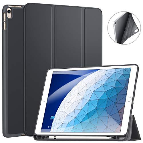 ZtotopCase Hülle für iPad Air 10.5 2019(3. Generation) und iPad Pro 10,5 2017,Ultradünne Soft TPU Rückseite Abdeckung mit eingebautem iPad Stifthalter, mit Auto Schlaf-/Aufwachfunktion,Dunkel Grau