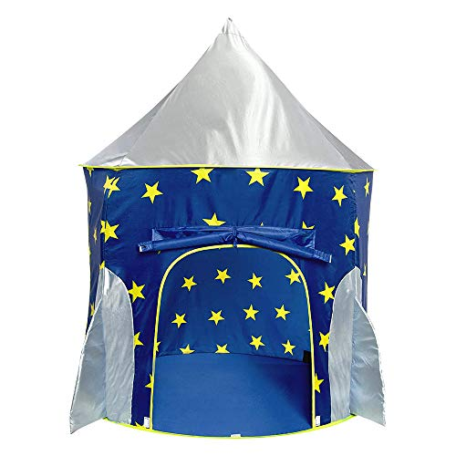 Sanobear Kids Rocket Ship Play Tent for Boys Spaceship Playhouse Toy with Glow in the Dark Stars, Birthday for Children Toddlers Indoor and Outdoor Fun Games with Carry Bag