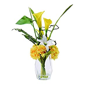 NYKK Decoration Calla Lily Artificial Flower with Glass Bottle for Living Room and Bedroom Dining Table to Show Simple Style Artificial Flowers Table Centrepieces