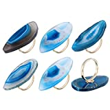 WarmHut Set of 6 Natural Agate Napkin Rings - for Thanksgiving Christmas Dinner Party Table Decor - Daily Use Napkin Ring Holder (Blue)