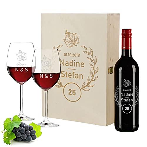 polar-effekt Set di 4 scatole di legno incise, 700 ml e 2 bicchieri da vino | vino francese | anniversario di matrimonio | coppia | Pierre Laforest | motivo corona