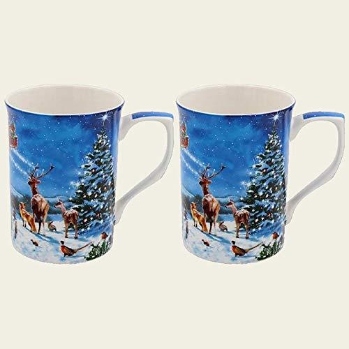 Juego de 2 tazas de porcelana fina, diseño de Papá Noel mágico